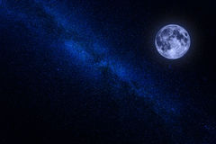 Milky way center with moon. Center of the milky way with the moon in blue color Stock Image