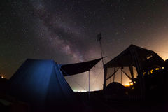 Milky Way stars. Centr our home galaxy over camp Royalty Free Stock Photography
