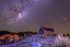 Milky way at the Church of the Good Shepherd, Lake Tekapo, New Z Stock Image