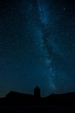 Milky way and church silhouette Stock Photos