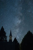 Milky Way with church steeple from Yosemite Valley. Milky Way Galaxy with church steeple taken from Yosemite Valley, California, Yosemite National Park royalty free stock image