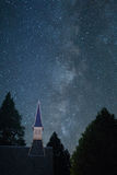 Milky Way with church steeple from Yosemite Valley. Milky Way Galaxy with church steeple taken from Yosemite Valley, California, Yosemite National Park stock photos