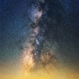 Milky way close up yellow light pollution Royalty Free Stock Photos