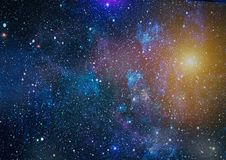 Panoramic looking into deep space. Dark night sky full of stars. The nebula in outer space. Stock Images