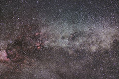 Milky Way and Cygnus constellation. Northern Cross. Starry night Royalty Free Stock Photos
