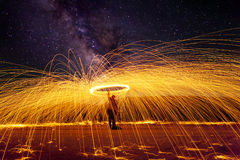 Milky Way with Fire. Milky Way over the Nevada Desert with fire and sparks from spinning steel wool Stock Photography