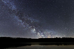 Milky Way galaxy beautiful night sky over the Lake Royalty Free Stock Image