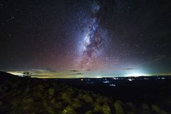 Milky way galaxy with knob stone ground is name Lan Hin Pum view. Point at Phu Hin Rong Kla National Park in Phitsanulok, Thailand Stock Images