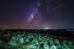 Milky way galaxy with knob stone ground is name Lan Hin Pum view. Point at Phu Hin Rong Kla National Park in Phitsanulok, Thailand Stock Photo