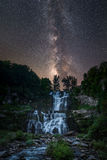 Milky Way Galaxy Over Chittenango Falls Stock Images