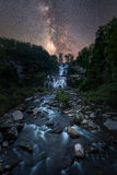 Milky Way Galaxy over Chittenango Falls Royalty Free Stock Photography