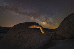 Milky Way Galaxy over Mobius Arch. Royalty Free Stock Images