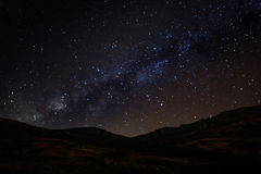 Milky Way Galaxy over mountain at Khao Kho National Park, Phetch Stock Photos