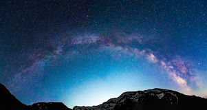 Milky Way galaxy over mountains Stock Photos