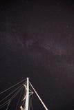 Milky way galaxy  in the Padi Beach Symi Greece. Royalty Free Stock Photos