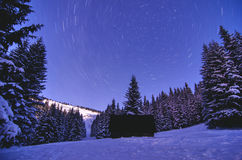 Milky Way Galaxy. Purple night sky stars above mountains Stock Images