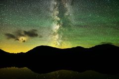 Milky Way over alpine lake stock images