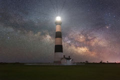 Milky Way Galaxy rising behind Bodie Island Lighthouse Stock Images