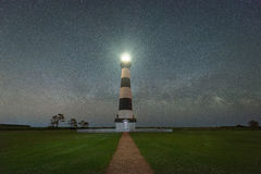 Milky Way Galaxy rising behind Bodie Island Lighthouse Stock Photo