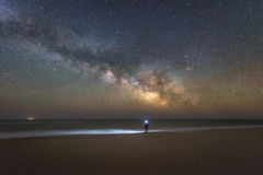 Milky Way Galaxy rising over Assateague Island. Man explores the beach at Assateague Island under the Milky Way Galaxy Royalty Free Stock Images