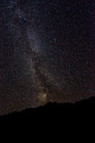 Milky Way Galaxy with silhouette of mountain Stock Image
