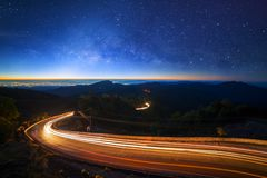 Milky way galaxy with stars and space dust in the universe at Do Stock Photography