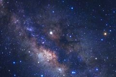 Milky way galaxy with stars and space dust in the universe. Long exposure photograph, with grain royalty free stock photography