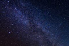 Milky way galaxy with stars and space dust in the universe. Long exposure photograph,with grain Royalty Free Stock Photography