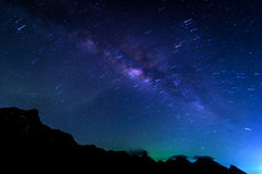 Milky Way Galaxy and Stars Trai Stock Photography
