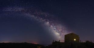Milky Way. Gallaxy, composed panorama of 4 photos, long exposure Stock Photography