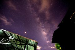 Milky way glaxy and stars with house roof top.