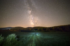 Milky way and green way Stock Images