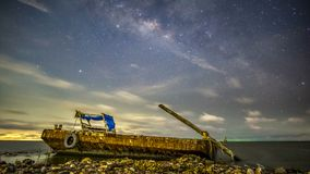 The Milky Way hidden behind the clouds. The trees in the mangrove forest stock video footage
