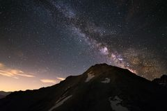 The Milky Way high in the Alps stock images