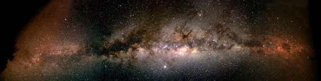 Milky Way from horizon to horizon - Namibia. This is a horizon to horizon composite image of the Milky way. The image is taken from a farm in the Kalahari desert Stock Photo
