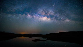 Milky way at the lake stock footage
