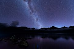 Milky Way landscape. Clearly Milky way above Lake Segara Anak inside crater of Rinjani mountain on night sky. Lombok island. Milky Way landscape. Clearly Milky Stock Photography