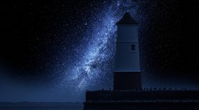 Milky way and lantern in enter to the sea. Europe Royalty Free Stock Images