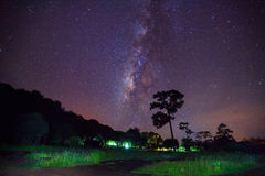 Milky way long exposure at Phu Hin Rong Kla National Park,Phitsa Royalty Free Stock Photos