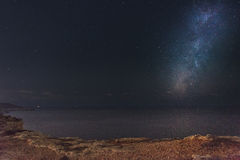 Milky Way at Majjistral Park. The beautiful night sky as seen from Majjistral Point in Malta royalty free stock photography
