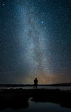 Milky way. Man looking star and milky way Stock Images