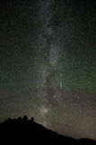 Milky Way with meteor and airglow during Perseids meteor shower, North Dakota Royalty Free Stock Photo