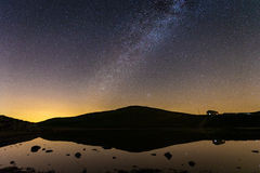Milky Way in mountain lake stock photo
