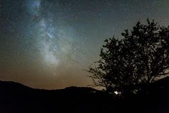 Milky way in the mountain Stock Photo