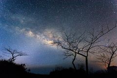 Milky way on mountain. From chain rai thailand Royalty Free Stock Photo