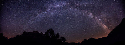 Milky way with mountains. Full Milky Way Over Spanish Pyrenees Panoramic Stock Photos