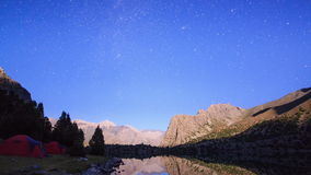 Milky Way in the mountains. Time Lapse. Pamir, Ta Royalty Free Stock Image
