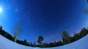 Milky Way in the night sky. Fisheye. Time Lapse stock video