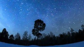 Milky Way in the night sky. Fisheye. Time Lapse stock video