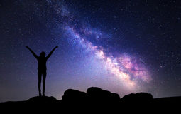 Milky Way. Night Sky With Stars And Silhouette Of A Woman Royalty Free Stock Image